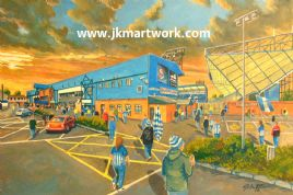 Hand Painted original of rugby park going to the match